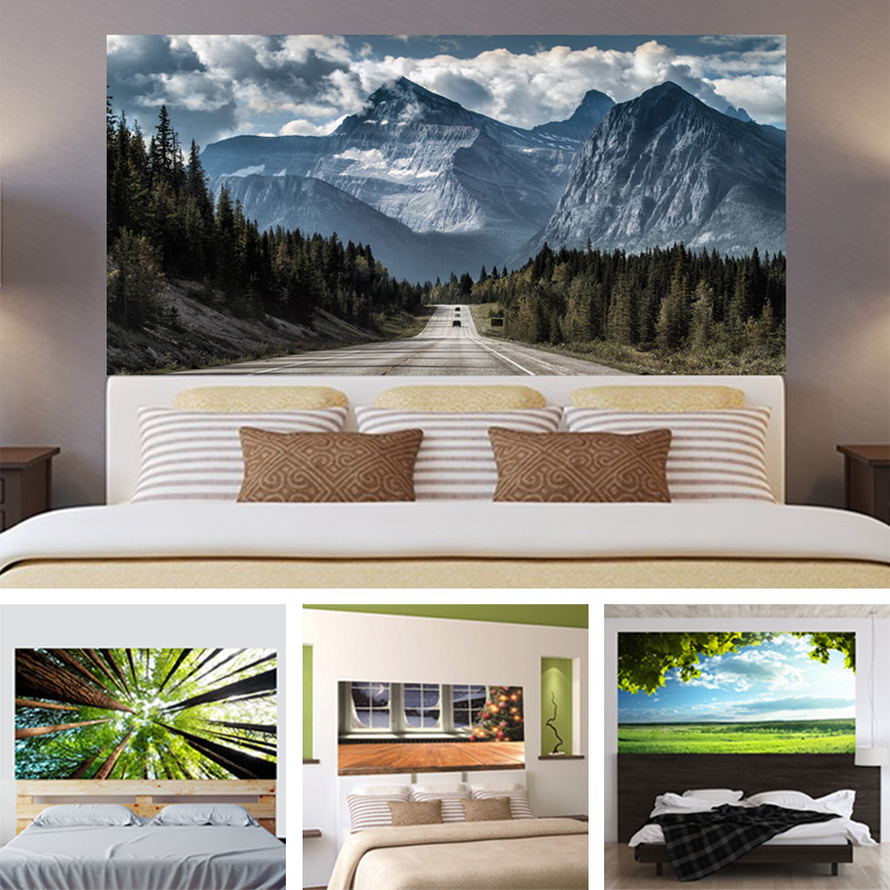 3D Tree Meadow Blue Sky Peak Headboard Sticker Dormitorio Sala de - Decoración del hogar