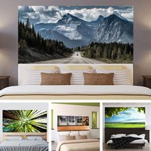 3D Baum Wiese Blue Sky Peak Kopfteil Aufkleber Schlafzimmer Wohnzimmer Wand Dekoration Selbstklebende Papierwandpaste 90x180 cm
