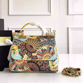 Classic big fan printing Sicily laptop Shoulder Bag Messenger Bag Leather Palm Print female fan