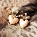 Bluelans Charme Lovely Fashion Cristal Rhinestone Crown Amor Peach Coração Studs Brincos