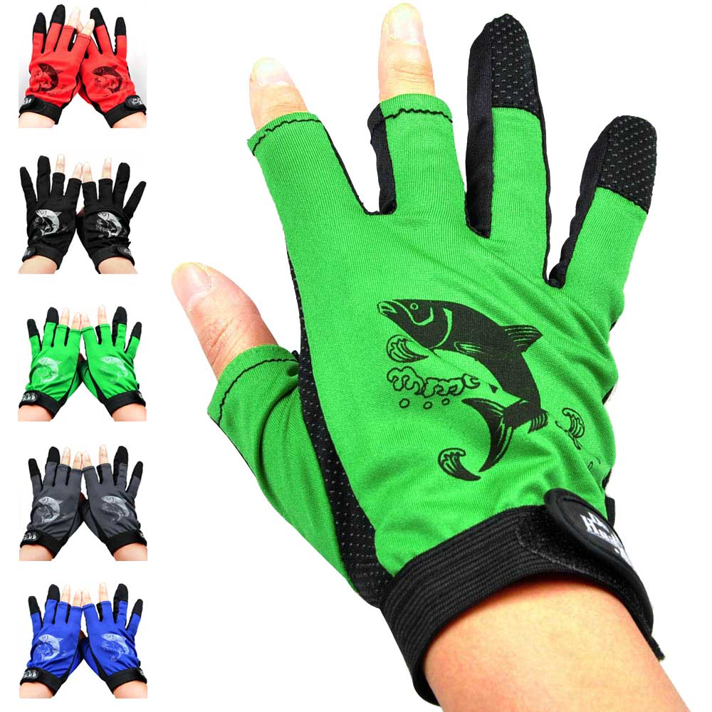 3 Cut Finger Cotton Fishing Gloves New Top Quality Anti-Slip Fishing Gloves Outdoor Sports Slip-resistant Gloves Fishing Gloves