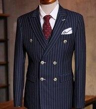 Custom Made Chalk Stripe Men Suits Bespoke Grey Black Dark Navy Blue Groom Tuxedos For Men Double Breasted Wedding Prom Suits
