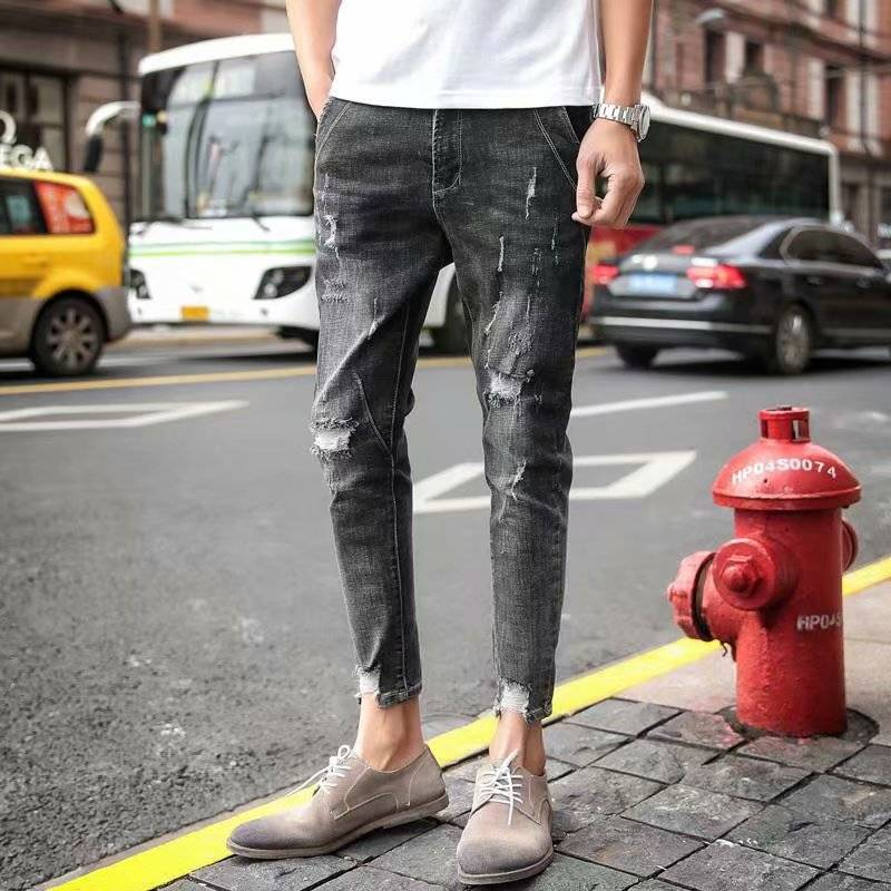 Fall Beggars Pants Men's Holes Jeans Men's Nine-minute Pants Slim Toe Pants Students Korean Fashion Pants Ripped Jeans For Men