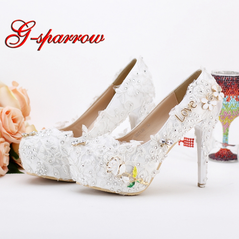 2018 New Wedding Shoes Pageant Wedding Party Dress Shoes Custom Made Graceful Lace Flower Bridal Shoes Pumps White and Red Color