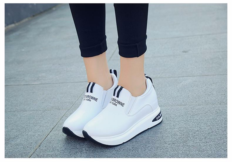 Shoes Women High Top Autumn Quality Leather Wedges Casual Shoes Height Increasing Slip On Ladies Shoes Trainers Size 35-39 YD139 (16)