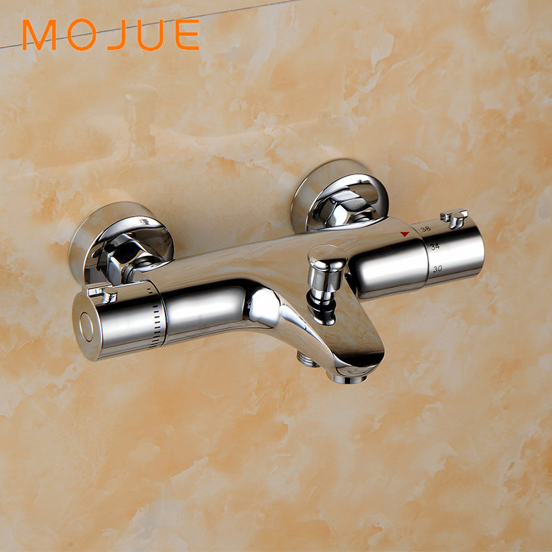MOJUE thermostatic shower faucets mixer tap bathroom Faucet on the side of the bathtub thermostatic shower faucets MJ8241 traditional faucet chrome thermostatic bathroom faucets plastic handshower dual holes shower mixer tap