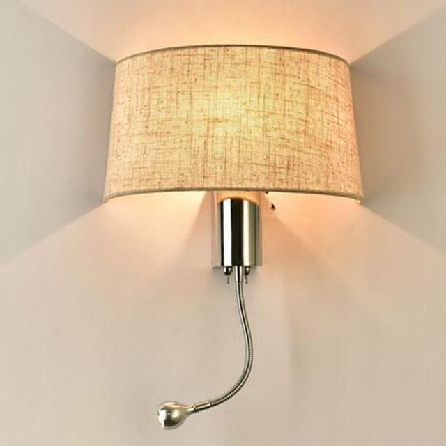 Black / White/Gunny Bedside Wall Lamp  led Spot Lighting fixtures in the  Reading Wall Light With Switch Sconce Fabric  WWL073