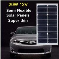 12 В 20 Вт Солнечный Панель монокристаллического энергия Полу Гибкая солнечная батарея sunpower для автомобиля RV лодка PV поли солнечный Модуль