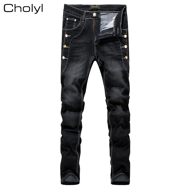 Fashion 2017 cholyl Casual thin Teenagers Hip Hop Skinny jeans men feet straight male pants elastic Button leisure trousers