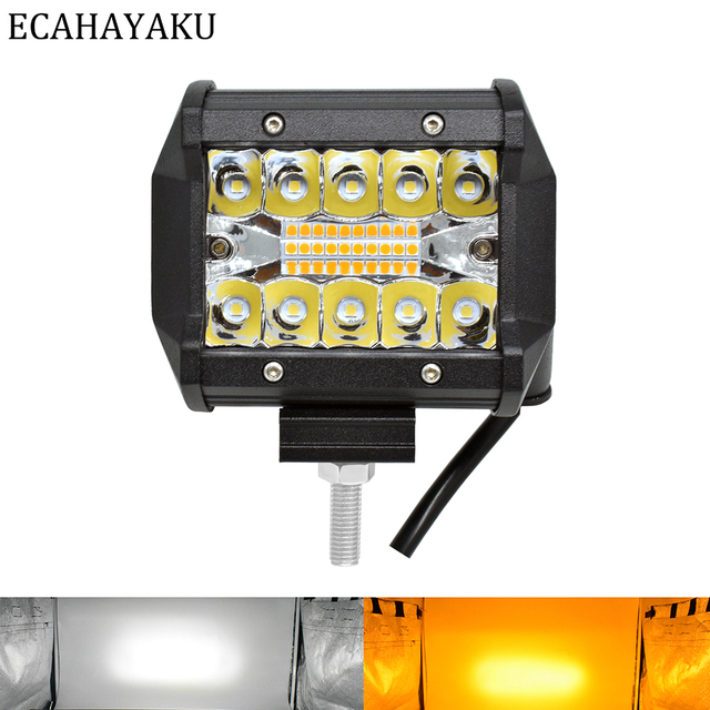 ECAHAYAKU Triple rows 4 inch LED Light Bar White Yellow Strobe Flashing 6 modes for Off road SUV Boat Jeep Hummer Fog Lights 12V