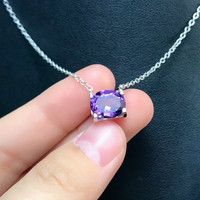 DJ CH 10x8MM Natural Brazil Amethyst Crystal Pendant with Chain, Solid 925 Sterling Silver Charm Oval Cut Purple Jewelry for her