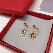 XF Hot Round Zircon White Shell Star Stud Earring 925 Sterling Silver Shell Pearl Stone Rose Compass Women Wedding Vents Jewelry(China)