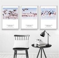 Semplice Nordic pittura di paesaggio 3 pezzi pittura frameless flamingo pittura decorativa quadri appesi