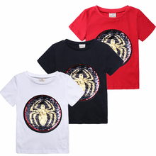 Changing Color and Patter Spiderman Switchable Sequins Boys T-shirts Kid Fashion Marvel Hero T Shirt Children Top Clothes Summer hot football soccer magic switchable sequins boys t shirts kid fashion t shirt children tops clothes
