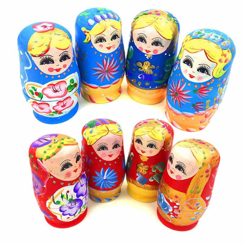 מעודן 5 יח'\סט בובות עץ רוסית קינון בבושקה בובות קינון יד צבוע מתנה לילדים צעצוע