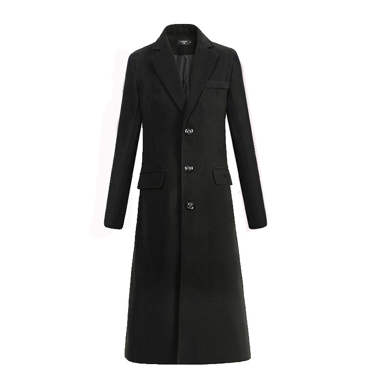 New Autumn and Winter Fine Wool Woolen Cloth Men's Fashion Leisure Business A Long Black Trench Coat Male Casual Trench Coat Men