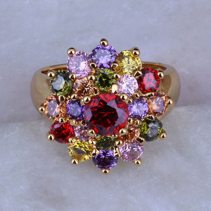 Amor monólogo na moda multicolorido cristal flor forma amarelo ouro cor anéis j0323