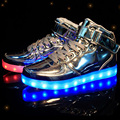 2017 New Fashion High Quality LED USB Recharge Couple Shoes Flats High -Top Breathable Gold / Sliver  Gig Size Shoes 75 ZYH