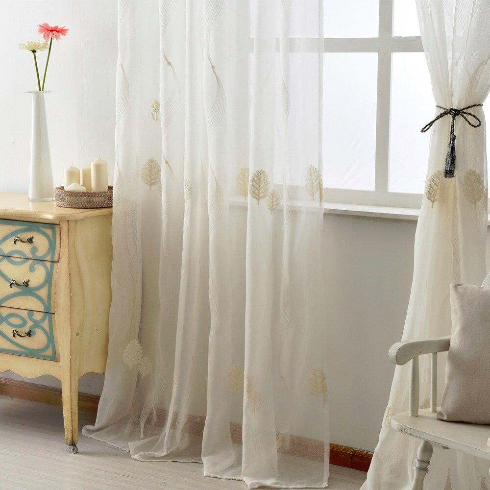 Bestickte leinen tüll vorhänge weiß schiere stoffe lassen design ...