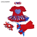 American Flag Print Baby Girl Clothes Stars July 4th Toddler Outfits Newborn Tutu Dress Headband Leg Warmers Set Roupa De Bebe