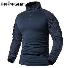 Camiseta de combate del ejército de ReFire Gear para hombre, camiseta táctica de manga larga, camisa militar de algodón sólido para hombre, camisetas Airsoft de caza Azul Marino