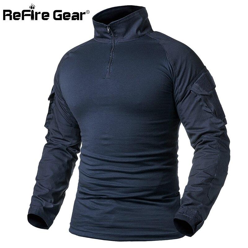 ReFire Gear Army Combat T Shirt Men Long Sleeve Tactical T-Shirt Solid Cotton Military Shirt Man Navy Blue Hunt Airsoft T Shirts