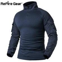 Refire Gear Tentara Tempur T Shirt Pria Lengan Panjang Taktis T-shirt Padat  Kapas Militer Kemeja Pria Biru Laut Berburu Airsoft . 987299a055