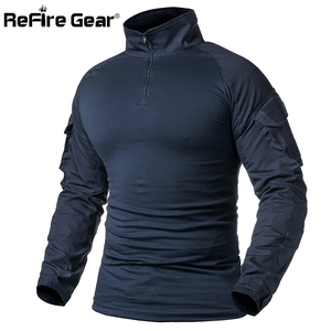 ReFire Gear Army Combat T shirt Men Long Sleeve Tactical T-Shirt Solid Cotton Military Shirt Man Navy Blue Hunt Airsoft T Shirts