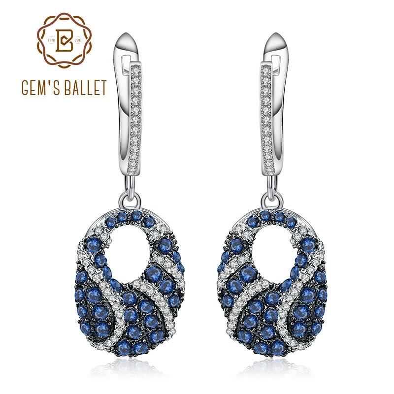 Klejnotu balet naturalny błękitny szafir kamień szlachetny kropla kolczyki 925 Sterling Silver Fine Jewelry dla kobiet w stylu Vintage kolczyki w Kolczyki od Biżuteria i akcesoria na  Grupa 1