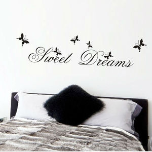 sweet dreams wall stickers bed