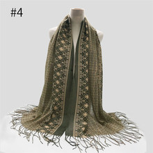 Retro Print Thin Gauze Scarf With Tassel Linen Muslim Hijabs Malaysia Head Scarf Long Shawl Turbante Light Weight Islamic Voile casual poppy print voile scarf