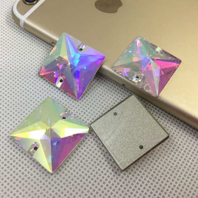 K9 Sew On  3240 AB Crystal Square Sew On Stones Flatback 12 14 16 22 mm  Sewing Glass Crystal Beads For Dress Jewelry 62769574c8a1