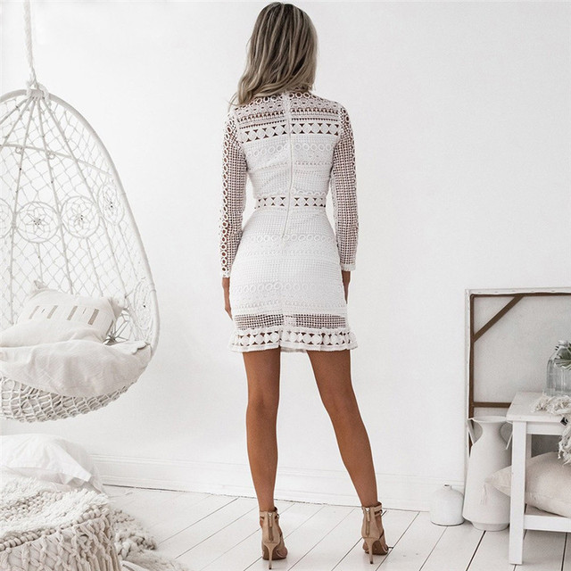 Women's Stylish Dress 2018 Summer Spring White Lace Mini Party Bodycon Dresses Sexy Club Casual Vintage Beach Sundress Plus Size