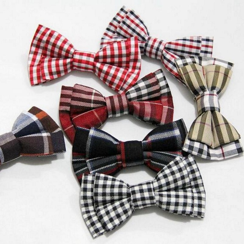 finest children bow tie cotton safety pin plaid kid pet dog butterfly checks 9 * 5 cm bowknot Decorated Neckwear 2pcs/lot