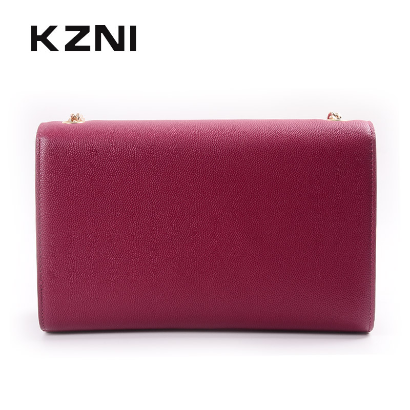 KZNI Womens Genuine Leather Crossbody Bag with Chain Crossbody Chain Bag Female Leather Purse and Handbags for Girl Pochette1438 chain houndstooth print crossbody bag