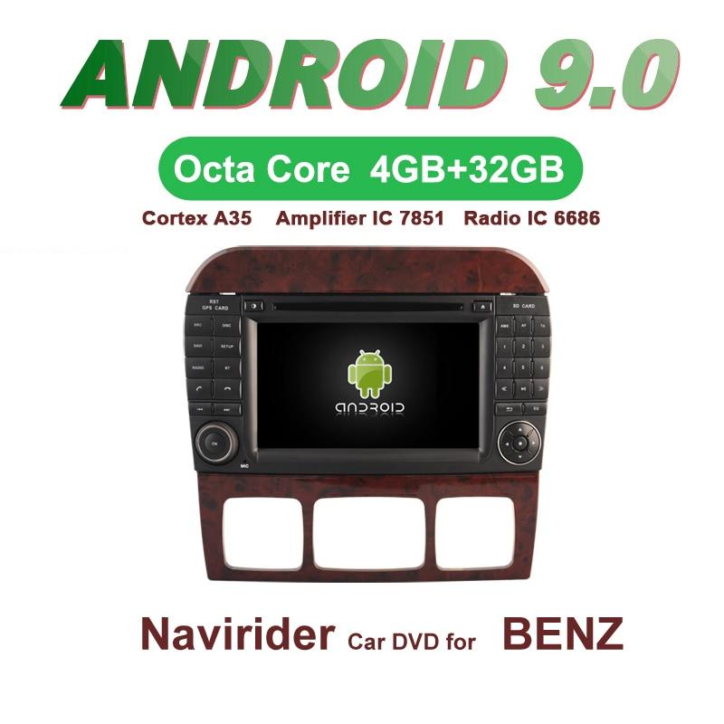 OTOJETA voiture GPS 7 pouces Android 9.0 Radio pour BENZ S classe W220 bluetooth Navigation écran capacitif support miroir lien