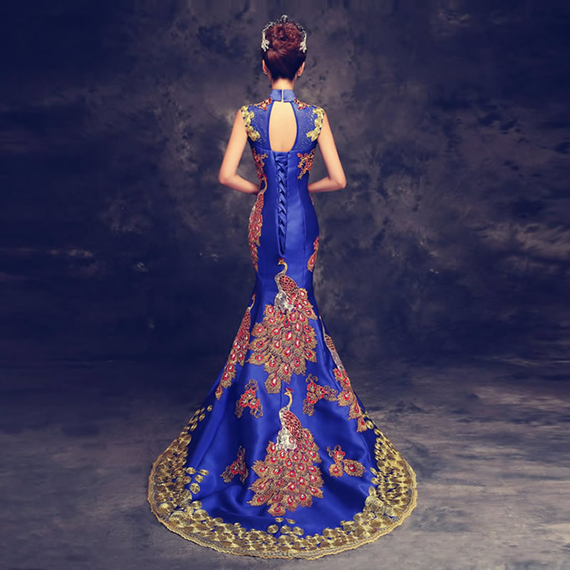 2016 Mewah Royal Blue Embroidered Evening Dress Cina Panjang Cheongsam Pengantin Pengantin Qipao Mermaid Dresses Oriental Qi Pao