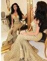 Bling de Lentejuelas de Oro Vestidos de Baile 2017 de Las Mujeres de Noche Formal Del Partido Vestido de Sirena Espaguetis Correas Dividir Ruffles vestido longo