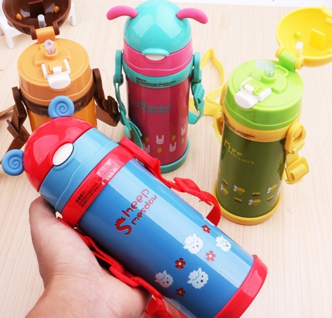 380ml High Quality Kids Vacuum Flasks With Silicone Straw Stainless Steel Children Thermos Mug Thermal Bottle