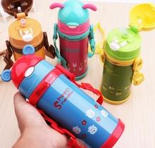 380 ml Hohe Qualität Kinder-Flaschen Mit Silikon Stroh Edelstahl Kinder Thermosbecher Thermische Flasche Thermocup BPA FREI