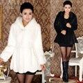 2016 Winter Women Fashion Hooded Faux Fur Coats Medium Long Slim Fur Jackets Female Imitation Rabbit Fur Outerwear S-4XL W760