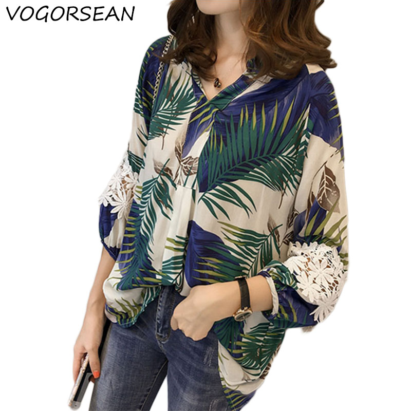 VogorSean Summer Women   Blouse     Shirt   2018 3/4 Sleeve Chiffon Lace Stitching Loose Large Size Womens Tops Blue/Orange