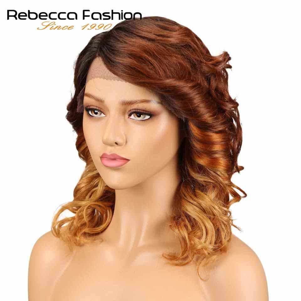 Rebecca L часть фронта шнурка человеческих волос парики для черных женщин спиральные вьющиеся перуанские Remy свободные Кудрявые Парики 14 дюймов Бесплатная доставка