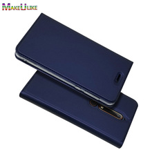 hot deal buy makeulike slim magnetic case for nokia 6.1 nokia 6 2018 flip cover pu leather phone bags cases for nokia 6  nokia6  coque