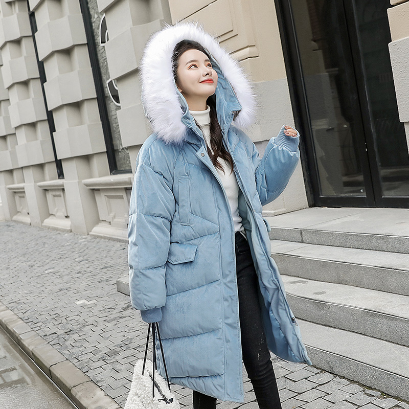FMFSSOM Women Winter Fur Collar Hooded  Medium Long Cotton Parkas Coat 2019 Slim Solid Color Female Thick Warm Jackets(China)