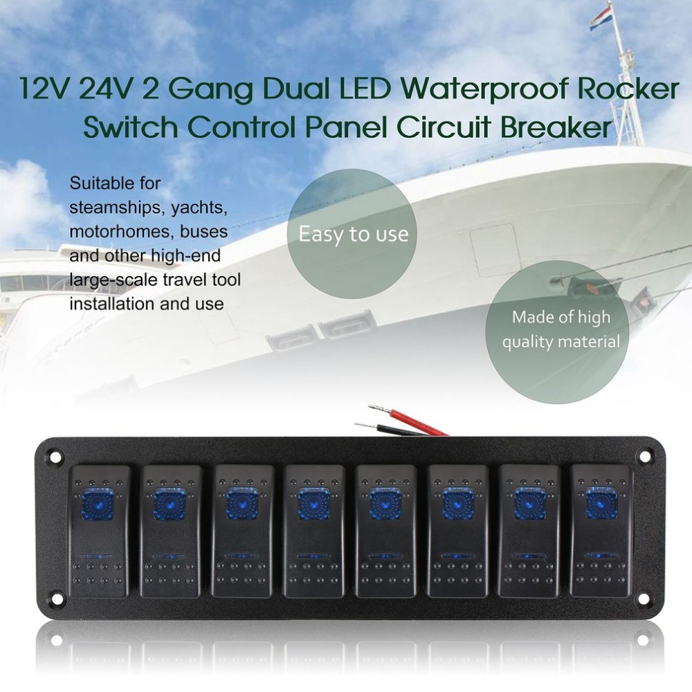 New Waterproof Marine Boat Caravan RV Rocker Switch Panel LED Circuit Breaker 12V 8 Switches Overload Protection Anti corrosion