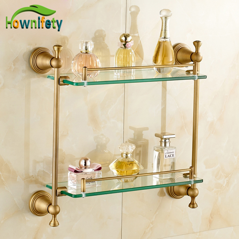 Solid Brass Bathroom Sorage Holder Glass Holder Double Tiers Bathroom Accessories Antique Brass solid brass