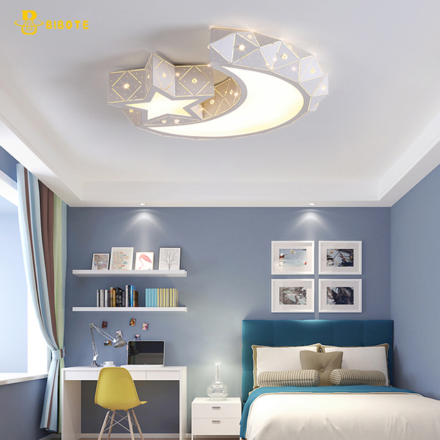 US $145.45 23% OFF|Creative star half moon led ceiling light with remote  control kids room light lamps lustre lampara techo infantil lampara  techo-in ...