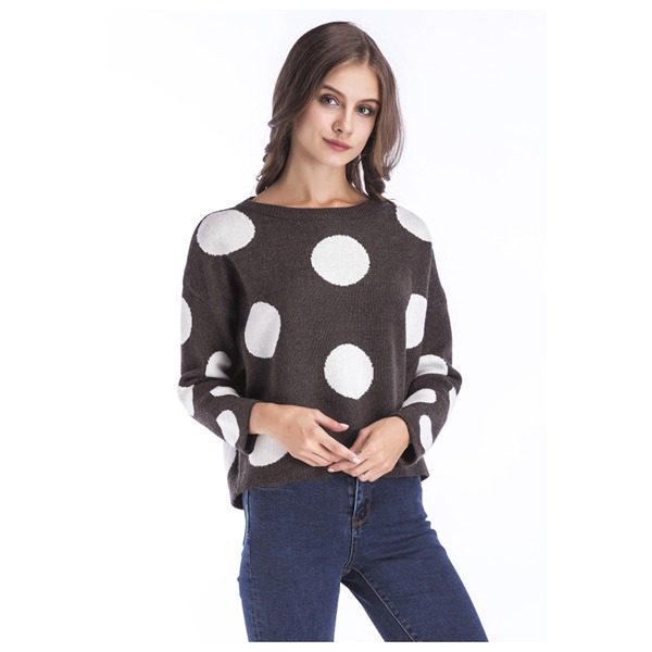 MYPF-Womens New Fashion O-neck Winter Pullover Loose Long Sleeve O-Neck Sweater Warm Short Design Polka Dot Sweater