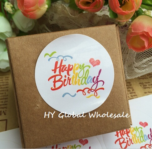 100PCS/Lot New Vintage Rainbow Happy Birthday series round design Kraft seal sticker DIY multifunction package gift  Labels домкрат kraft кт 800026